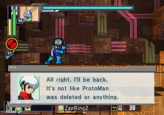 "(Screen shot of Chaud saying, ""It's not like ProtoMan was deleted or anything."")"