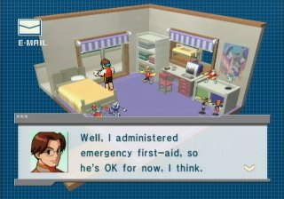 (Screen shot of Lan's dad saying he's going to administer first aid to a NetNavi.)