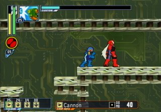 (Screen shot of MegaMan standing beside ProtoMan.)