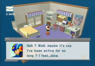 (Screen shot of MegaMan saying he's feeling odd.)